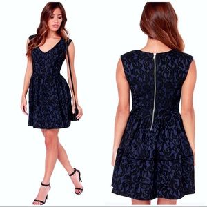 Lace Blue black fit and flare dress